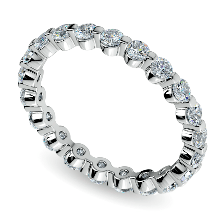 Floating Diamond Eternity Ring in White Gold (1 ctw) | 01