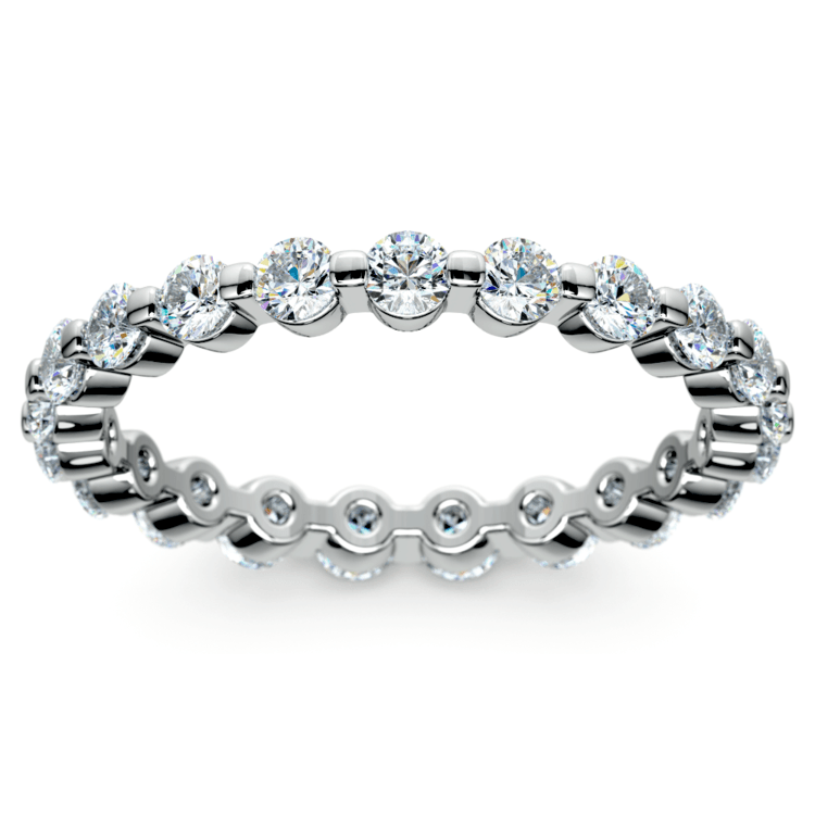 Glistening 1 Carat Floating Diamond Eternity Ring In White Gold | 02