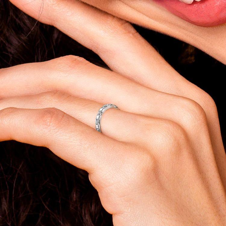Floating Baguette Diamond Eternity Ring In White Gold   07