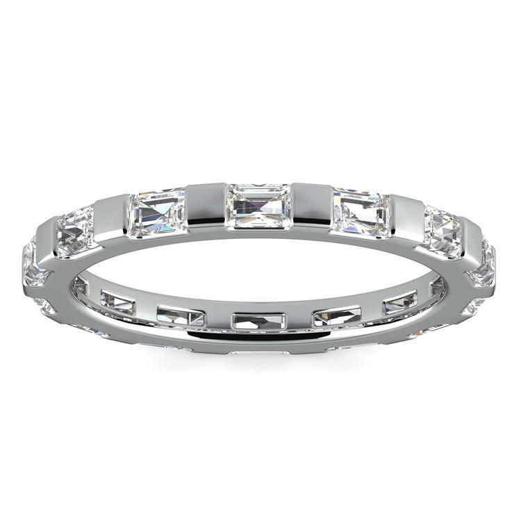 Floating Baguette Diamond Eternity Ring In White Gold   02