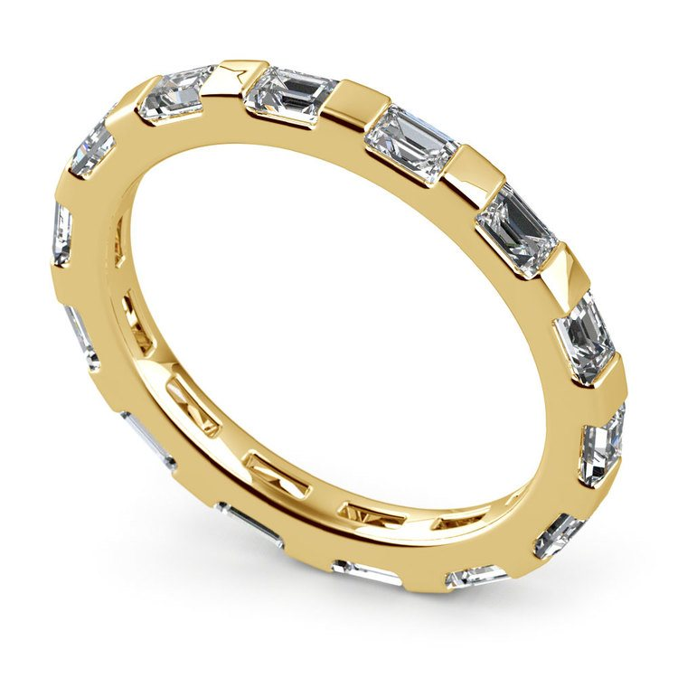 Floating Baguette Diamond Eternity Ring In Yellow Gold | 01