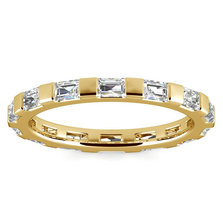 Floating Baguette Diamond Eternity Ring In Yellow Gold | 02