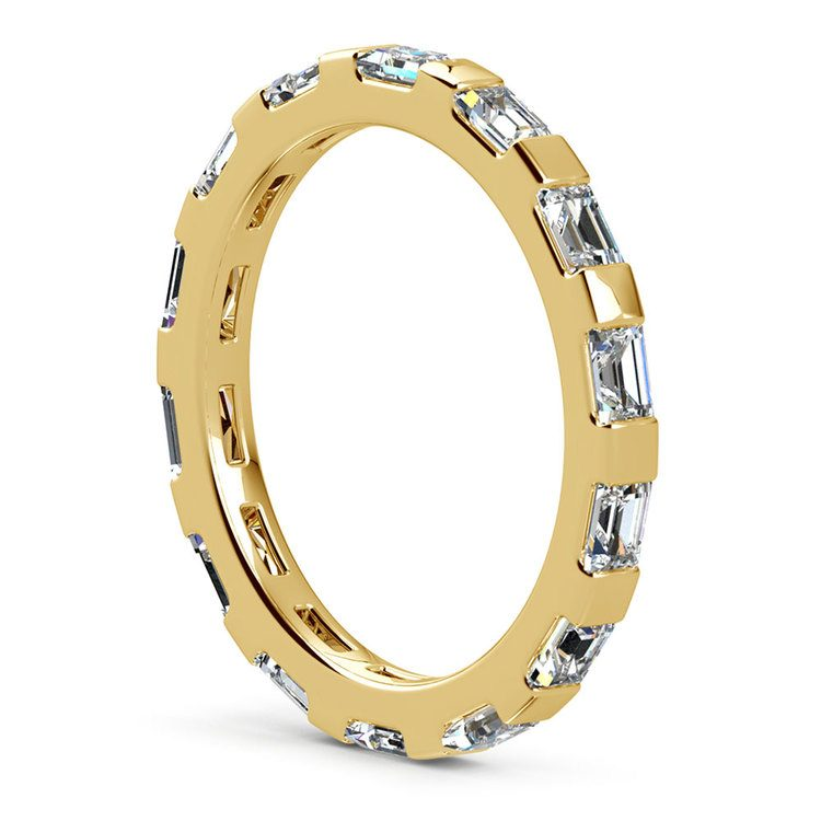 Floating Baguette Diamond Eternity Ring In Yellow Gold | 05