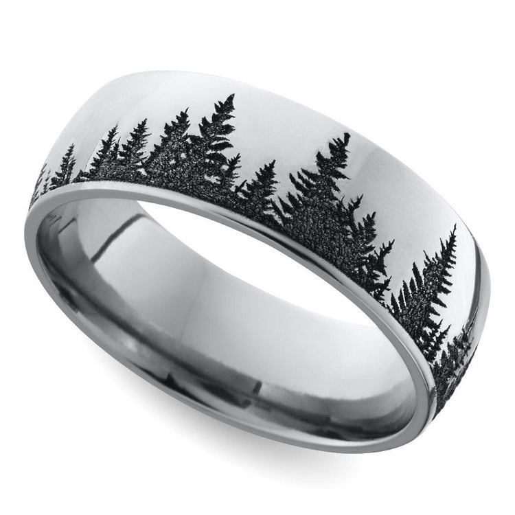 Laser Carved Forest Pattern Mens Ring In Titanium | 01