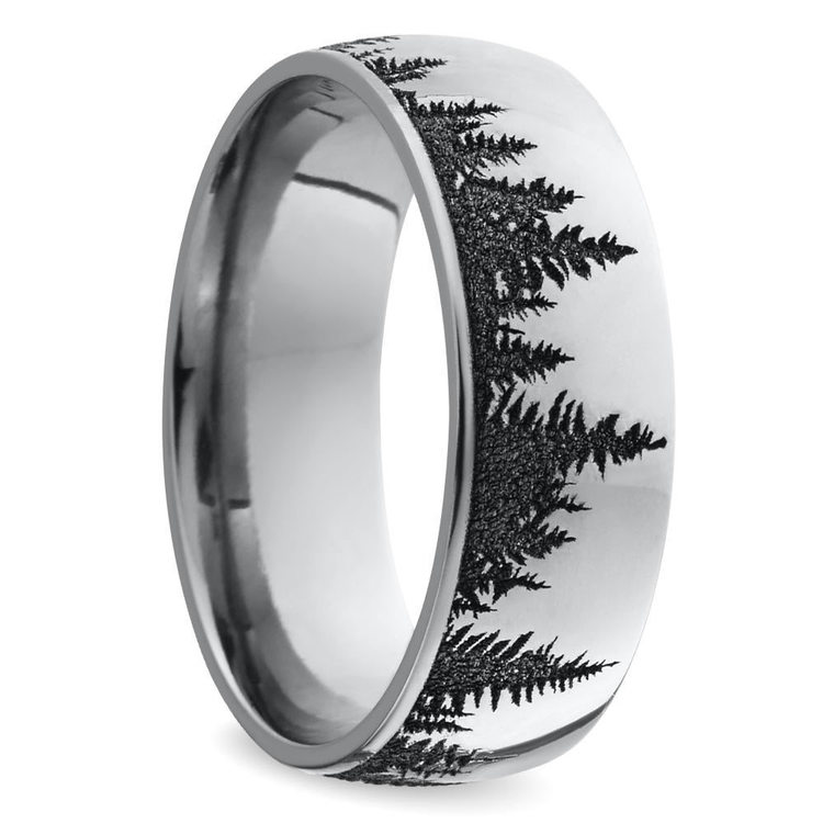 Laser Carved Forest Pattern Mens Ring In Titanium | 02
