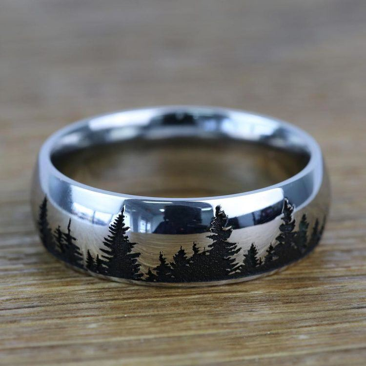 Laser Carved Forest Pattern Mens Ring In Titanium | 03