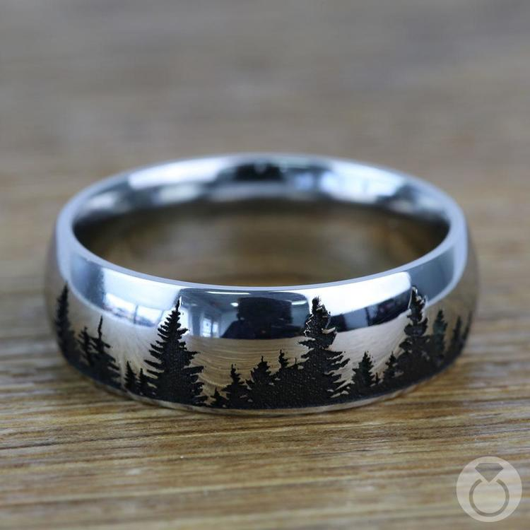 Laser Carved Forest Pattern Mens Ring In Titanium   03
