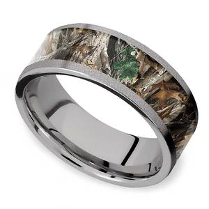 Forest View -  Sandblasted Titanium Mens Band with Camo Inlay