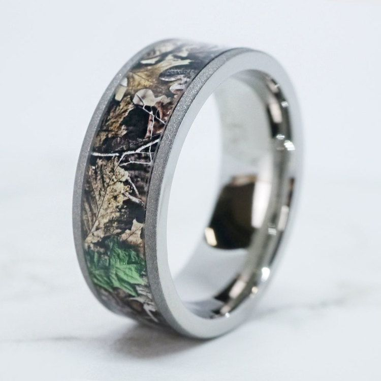 Forest View -  Sandblasted Titanium Mens Band with Camo Inlay | 06
