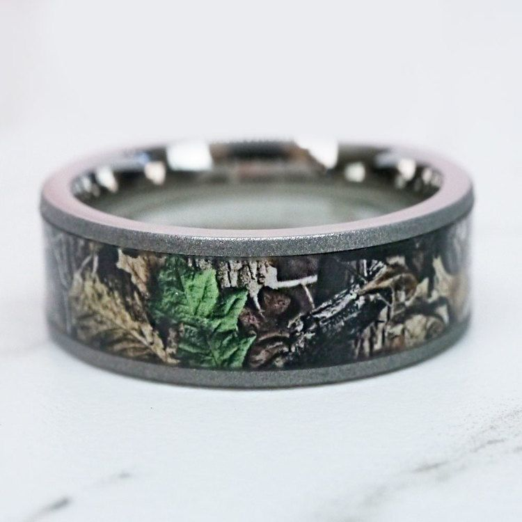 Forest View -  Sandblasted Titanium Mens Band with Camo Inlay | 07
