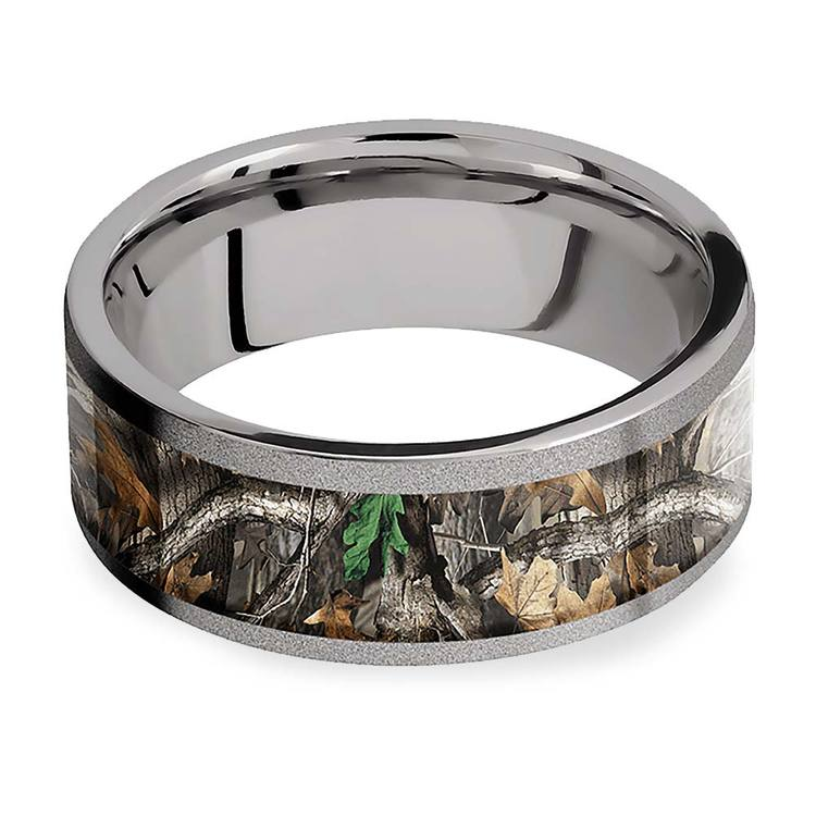 Forest View -  Sandblasted Titanium Mens Band with Camo Inlay | 03