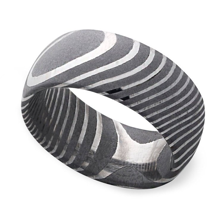 Forged - Damascus Steel Mens Band   01