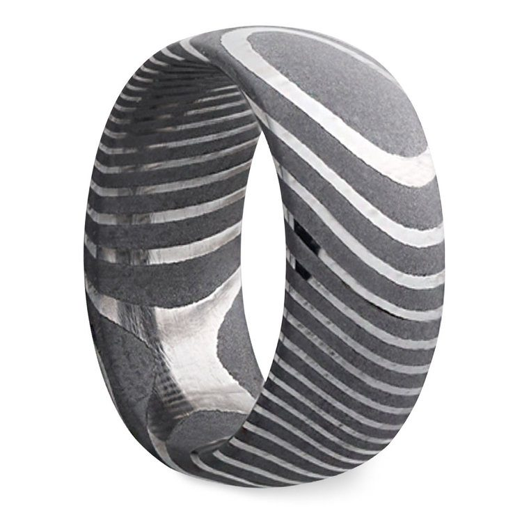 Forged - Damascus Steel Mens Band   02
