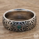 Fortune Teller - Cobalt Mens Ring with Emerald Center Stone | Thumbnail 04