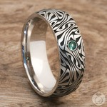 Fortune Teller - Cobalt Mens Ring with Emerald Center Stone | Thumbnail 05