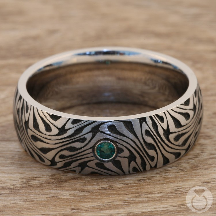 Fortune Teller - Cobalt Mens Ring with Emerald Center Stone | 04
