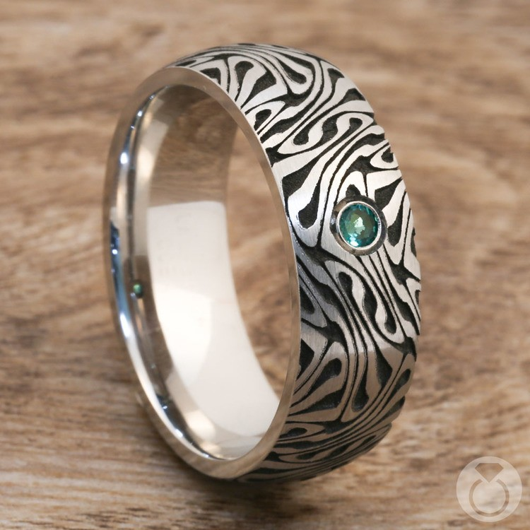 Fortune Teller - Cobalt Mens Ring with Emerald Center Stone | 05