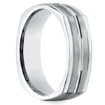 Four-Sided Satin Men's Wedding Ring in White Gold | Thumbnail 02