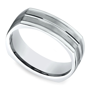 Four-Sided Satin Men's Wedding Ring in White Gold