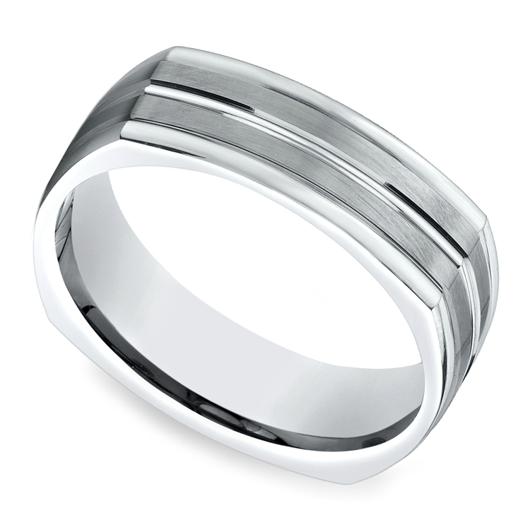 Four-Sided Satin Men's Wedding Ring in White Gold | 01