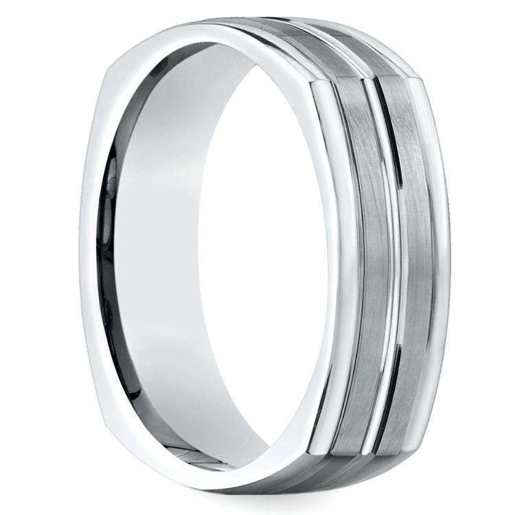 Four-Sided Satin Men's Wedding Ring in White Gold | 02