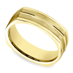 Four-Sided Satin Men's Wedding Ring in Yellow Gold | Thumbnail 01