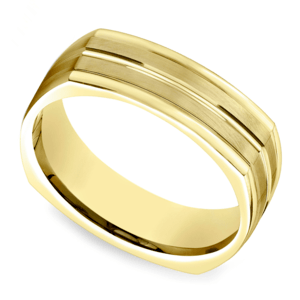 Four-Sided Satin Men's Wedding Ring in Yellow Gold