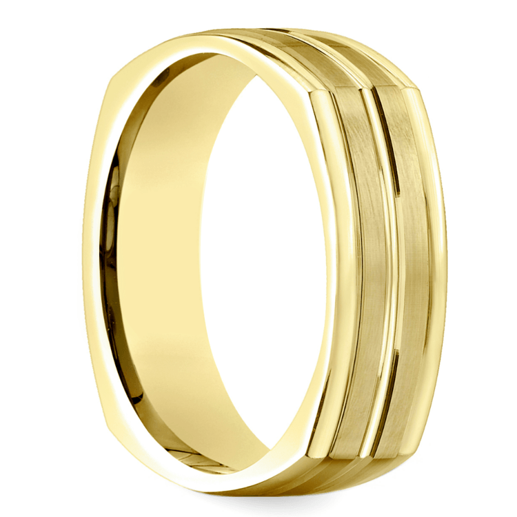 Four-Sided Satin Men's Wedding Ring in Yellow Gold | 02