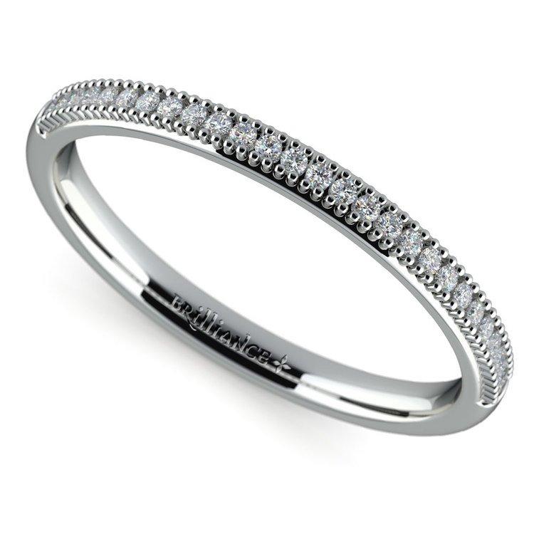 French Pave Diamond Wedding Ring in Palladium | 01