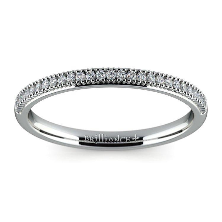 French Pave Diamond Wedding Ring in Palladium | 02
