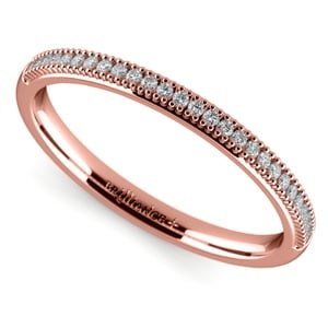 French Pave Diamond Wedding Ring in Rose Gold