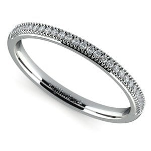 French Pave Diamond Wedding Ring in White Gold