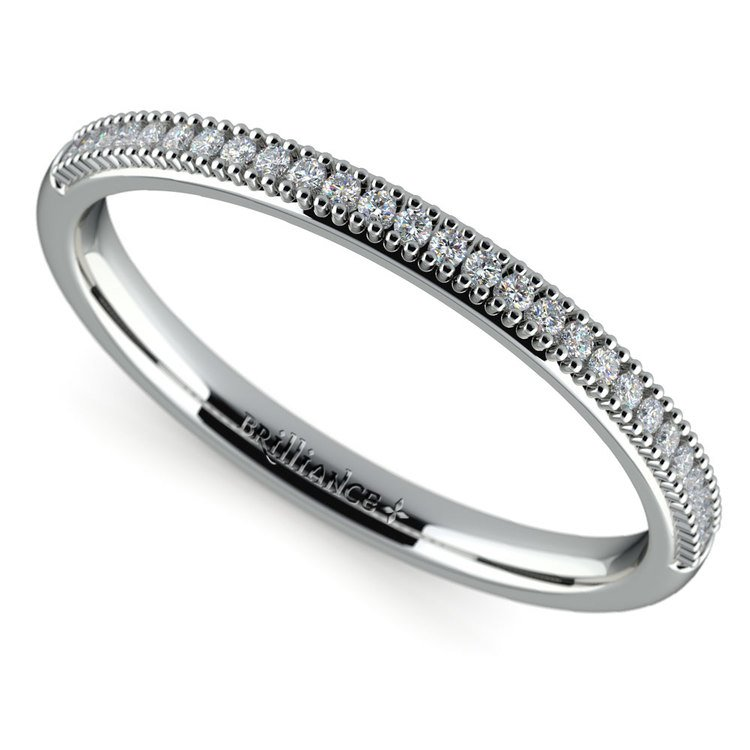 French Pave Diamond Wedding Ring in White Gold | 01