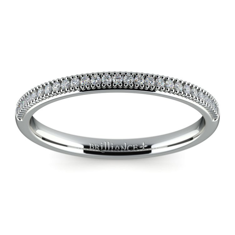 French Pave Diamond Wedding Ring in White Gold | 02