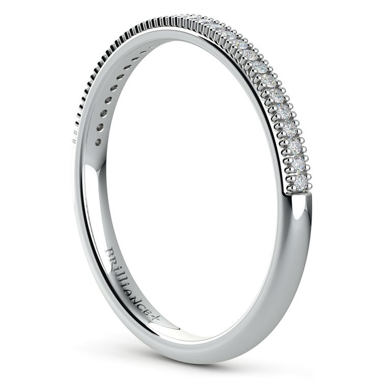 French Pave Diamond Wedding Ring in White Gold | 04