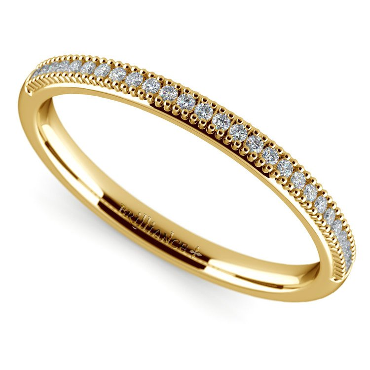 French Pave Diamond Wedding Ring in Yellow Gold | 01