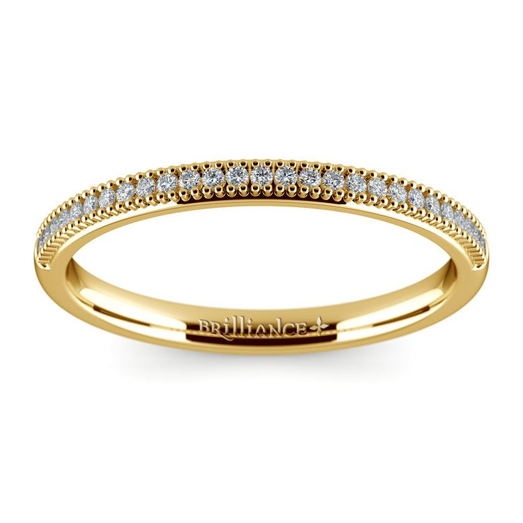 French Pave Diamond Wedding Ring in Yellow Gold | 02