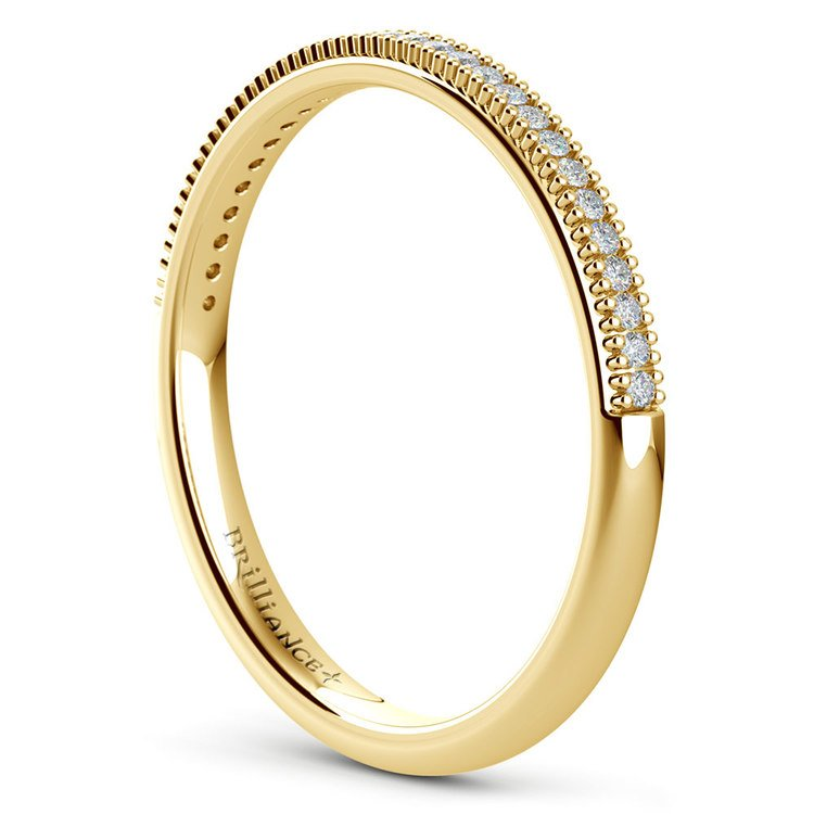 French Pave Diamond Wedding Ring in Yellow Gold | 04