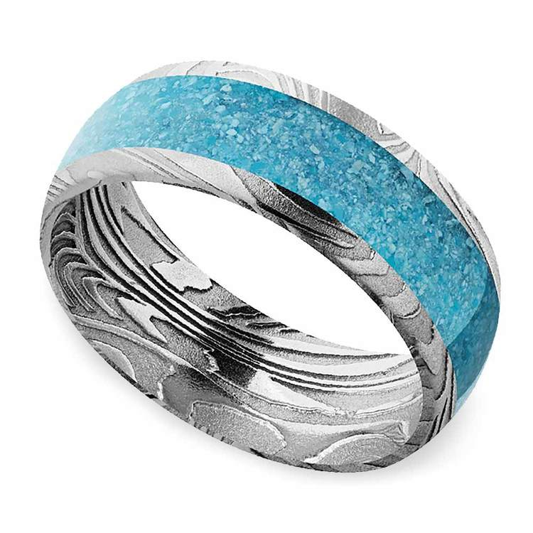 Frozen River - Turquoise Inlaid Mens Band in Damascus Steel   01