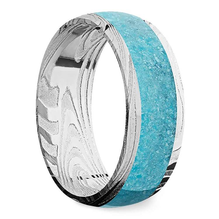 Frozen River - Turquoise Inlaid Mens Band in Damascus Steel   02