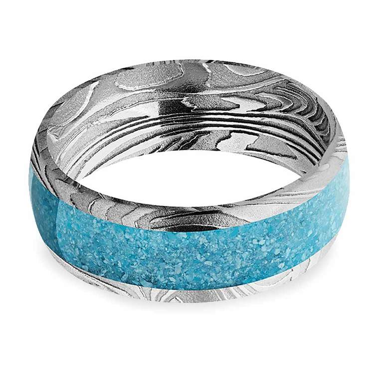 Frozen River - Turquoise Inlaid Mens Band in Damascus Steel   03