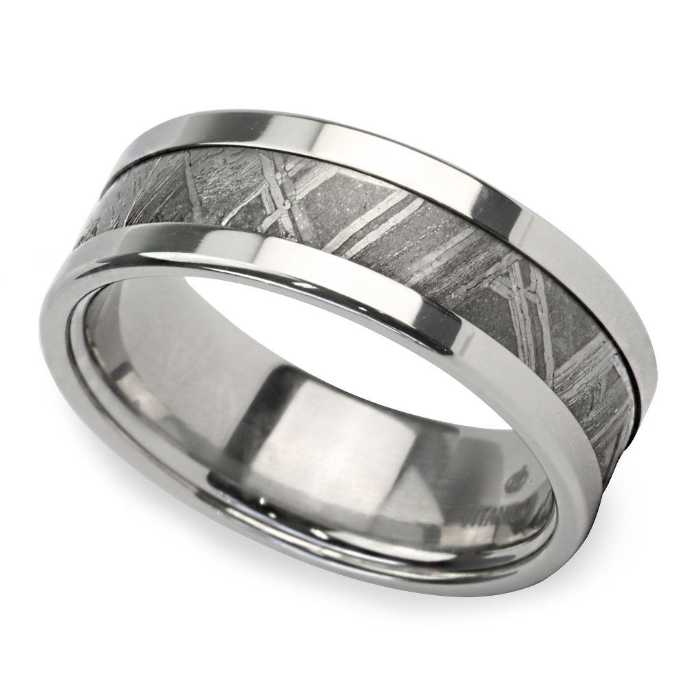 This is a graphic of Mens Meteorite Ring in Titanium The Gama by Brilliance