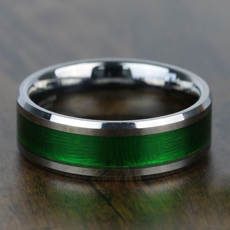 Gamma Ray - 8mm Tungsten Mens Band with Textured Green Inlay | 03