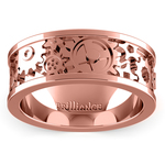 Gear Channel Men's Wedding Ring In Rose Gold | Thumbnail 02