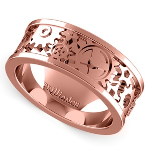 Gear Channel Men's Wedding Ring In Rose Gold