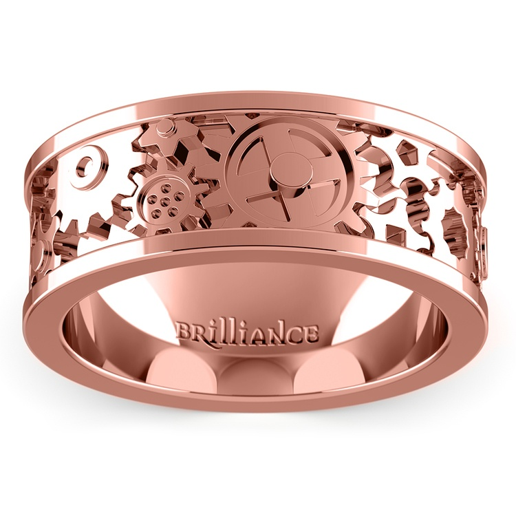 Gear Channel Men's Wedding Ring In Rose Gold | 02