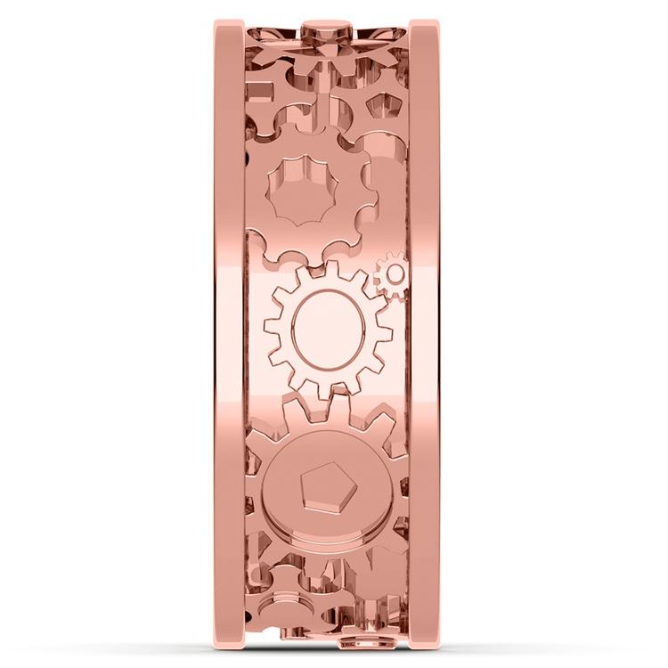 Gear Channel Men's Wedding Ring In Rose Gold | 05