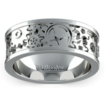 Gear Channel Men's Wedding Ring in White Gold | Thumbnail 02