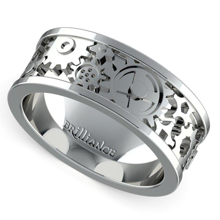Gear Channel Men's Wedding Ring in White Gold | 01