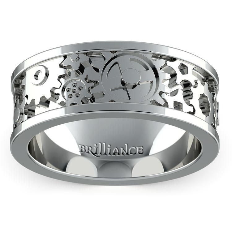 Gear Channel Men's Wedding Ring in White Gold | 02